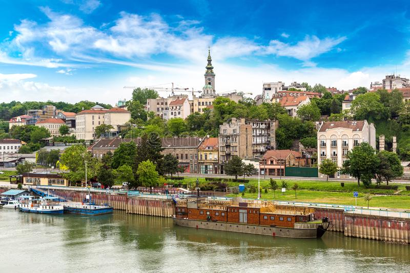 Belgrade cityscape in summer. Belgrade cityscape from the Sava river in Serbia in a beautiful summer day royalty free stock photos