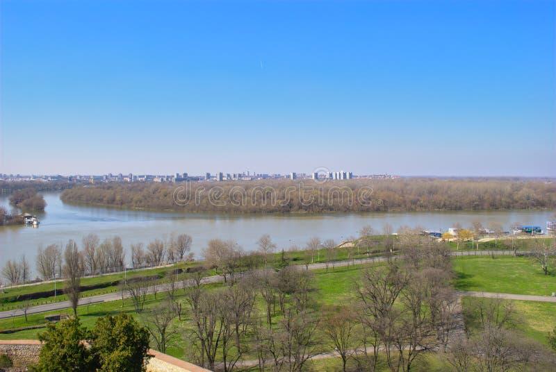 Belgrade - confluent des économies et du Danube photos libres de droits