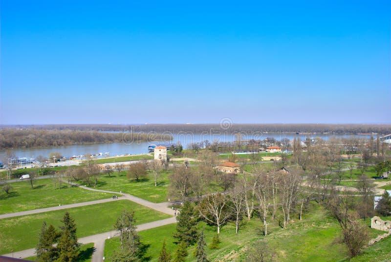 Belgrade - confluent des économies et du Danube photo libre de droits