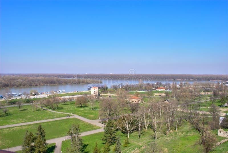 Belgrade - confluent des économies et du Danube image stock