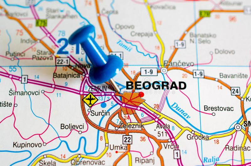 Belgrade on map stock photos