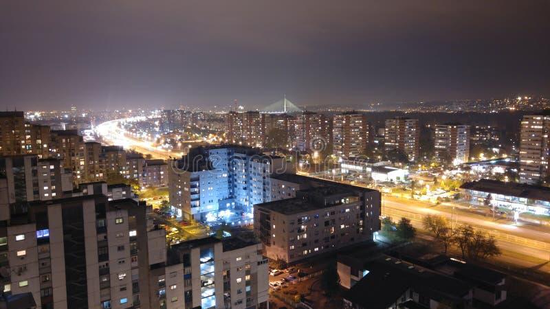 Belgrade natt royaltyfria bilder