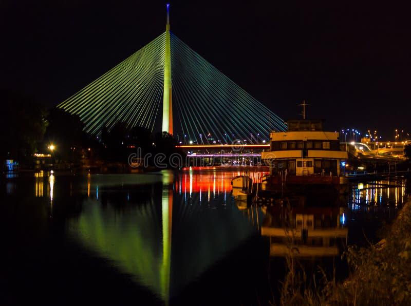 Belgrade nightscape royaltyfri fotografi