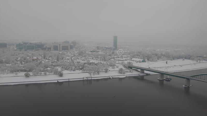 Belgrade på vatten-snö morgon royaltyfri fotografi