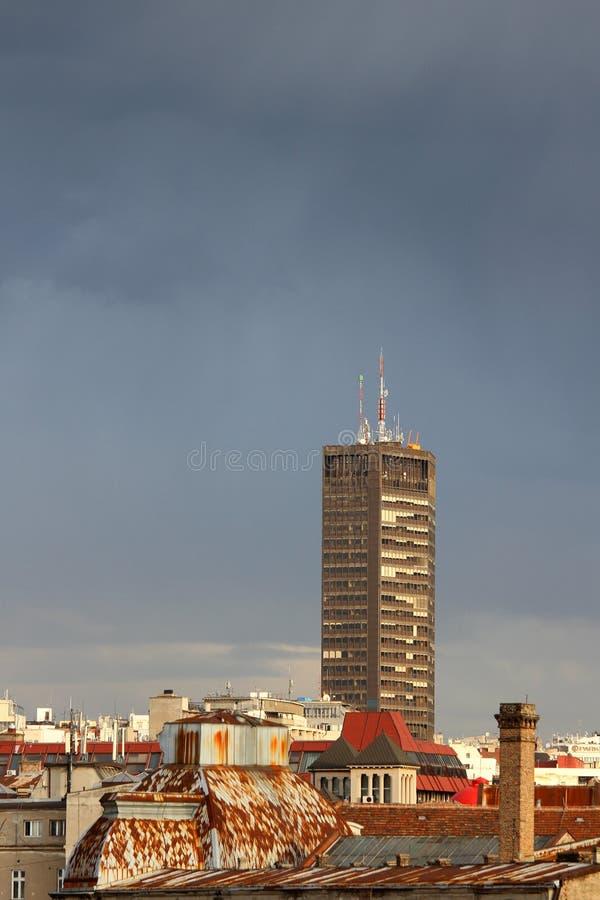 Belgrade panorama fotografering för bildbyråer