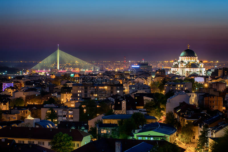 Belgrade panorama with temple of Saint Sava.  royalty free stock images