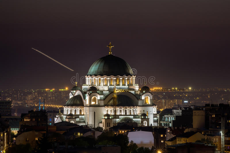 Belgrade panorama with temple of Saint Sava.  stock image
