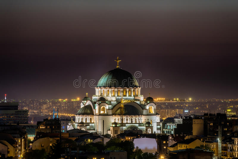 Belgrade panorama with temple of Saint Sava.  stock photography