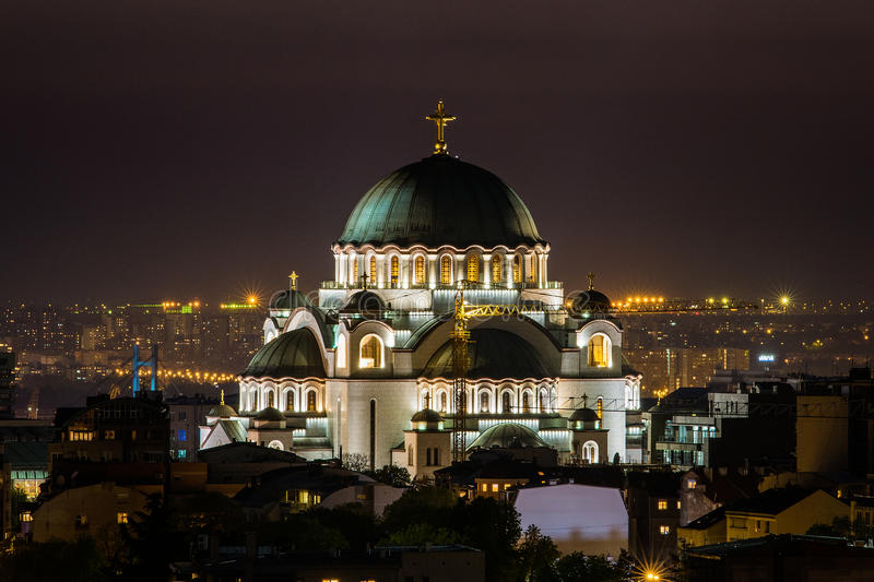 Belgrade panorama with temple of Saint Sava.  royalty free stock photo
