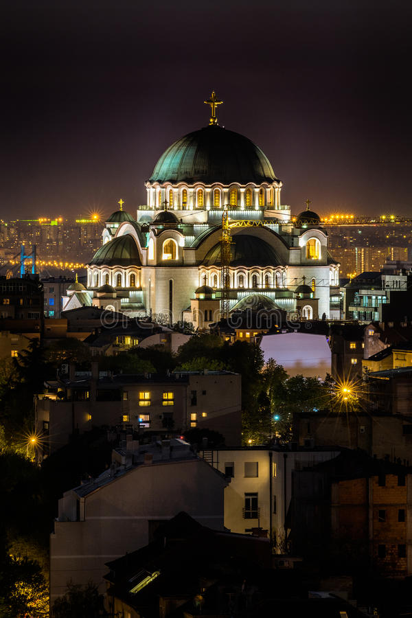 Belgrade panorama with temple of Saint Sava.  royalty free stock photography