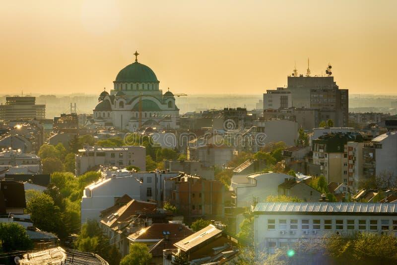 Belgrade panorama z świątynią święty Sava fotografia royalty free