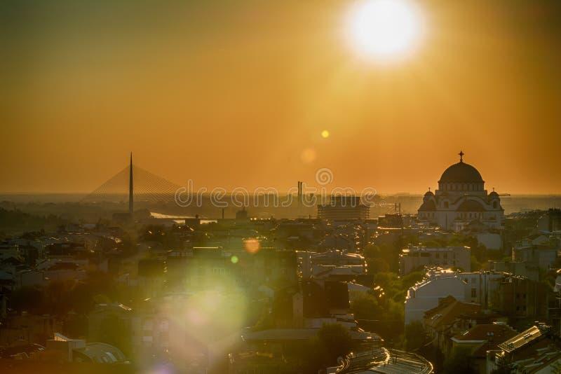 Belgrade panorama z świątynią święty Sava fotografia stock