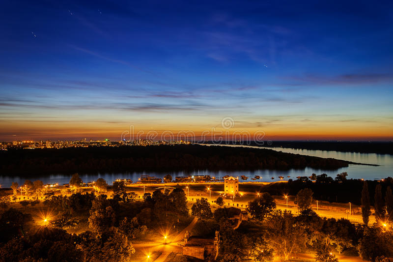 Belgrade, panoramic view from Kalemegdan stock photos