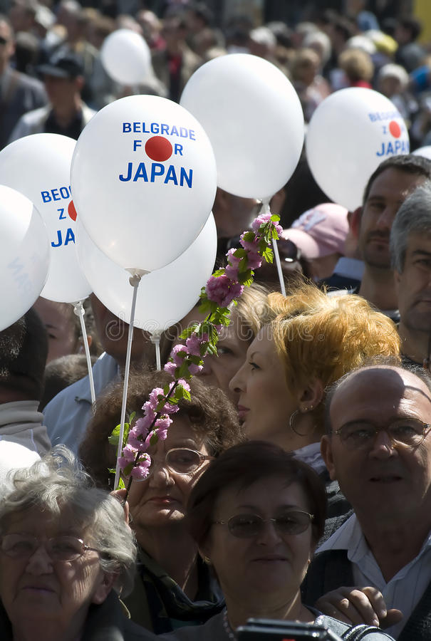 Belgrade people supporting Japan stock photos