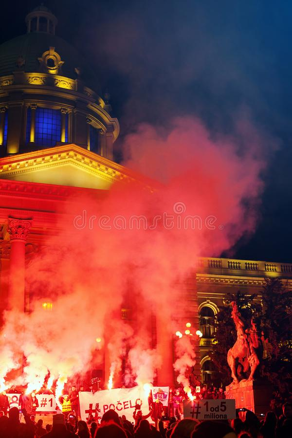 Belgrade Protest Against Aleksandar Vucic. Belgrade, Serbia - February 23, 2019: Eleventh protest under the name `1 of 5 million` in Belgrade against president royalty free stock photo