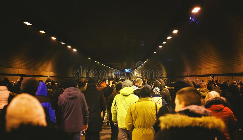 Belgrade Protest Against Aleksandar Vucic. Belgrade, Serbia - February 23, 2019: Eleventh protest under the name `1 of 5 million` in Belgrade against president royalty free stock photography