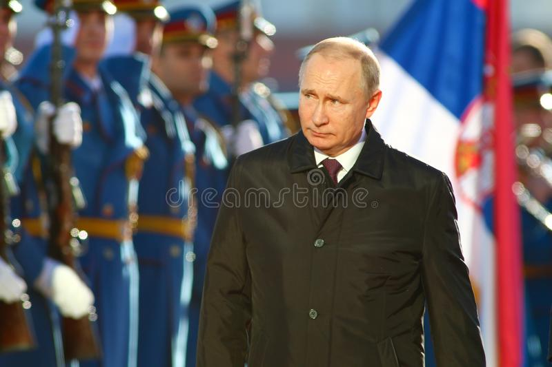 Belgrade, Serbia - January 17, 2019 : Vladimir Putin, the President of Russian Federation in press conference at the Palace of Ser. Vladimir Putin, the President royalty free stock photo