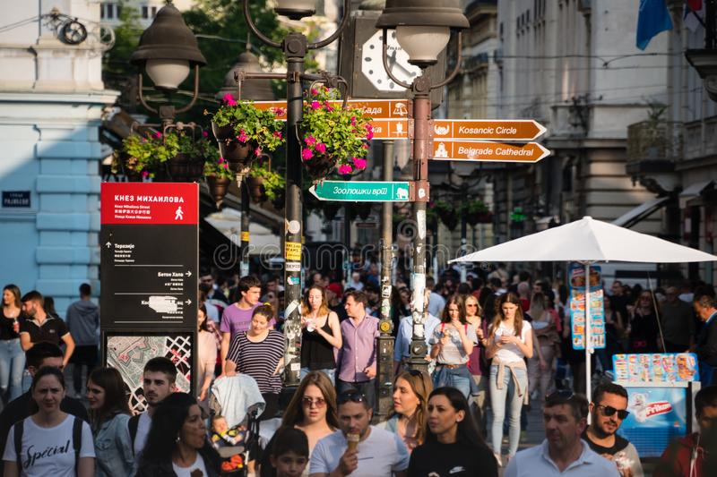 Belgrade, Serbia, June 2, 2019 : Walking zone crowded with people in the centre of Belgrade stock images