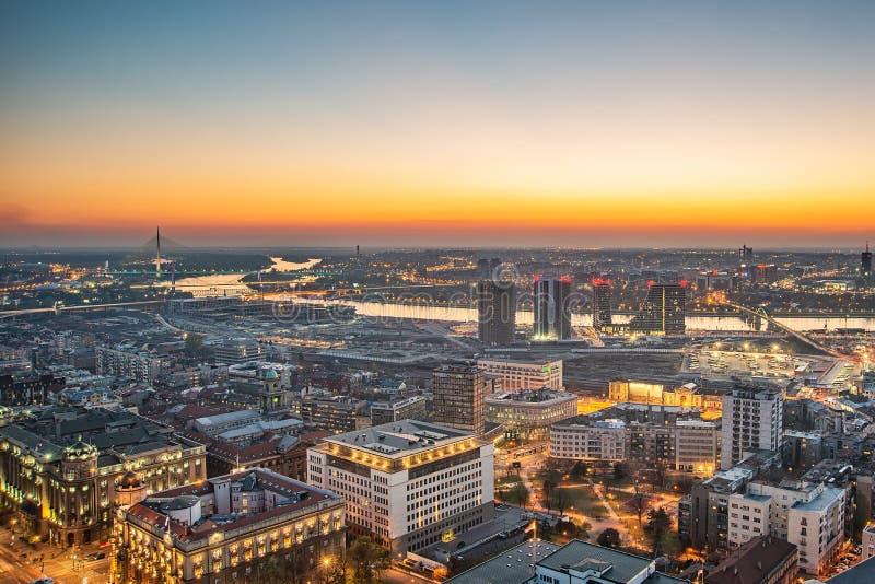 Panorama of Belgrade and New Belgrade. Belgrade, Serbia March 31, 2019: Panorama of Belgrade and New Belgrade. Waterfront Belgrade, Sava river and bridges royalty free stock photos