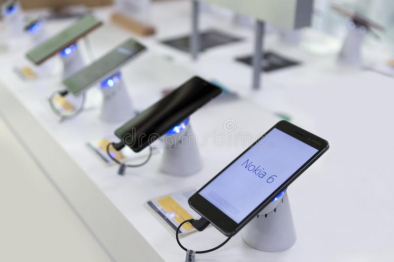 Nokia 6 Smartphone on retail display in electronic store royalty free stock images
