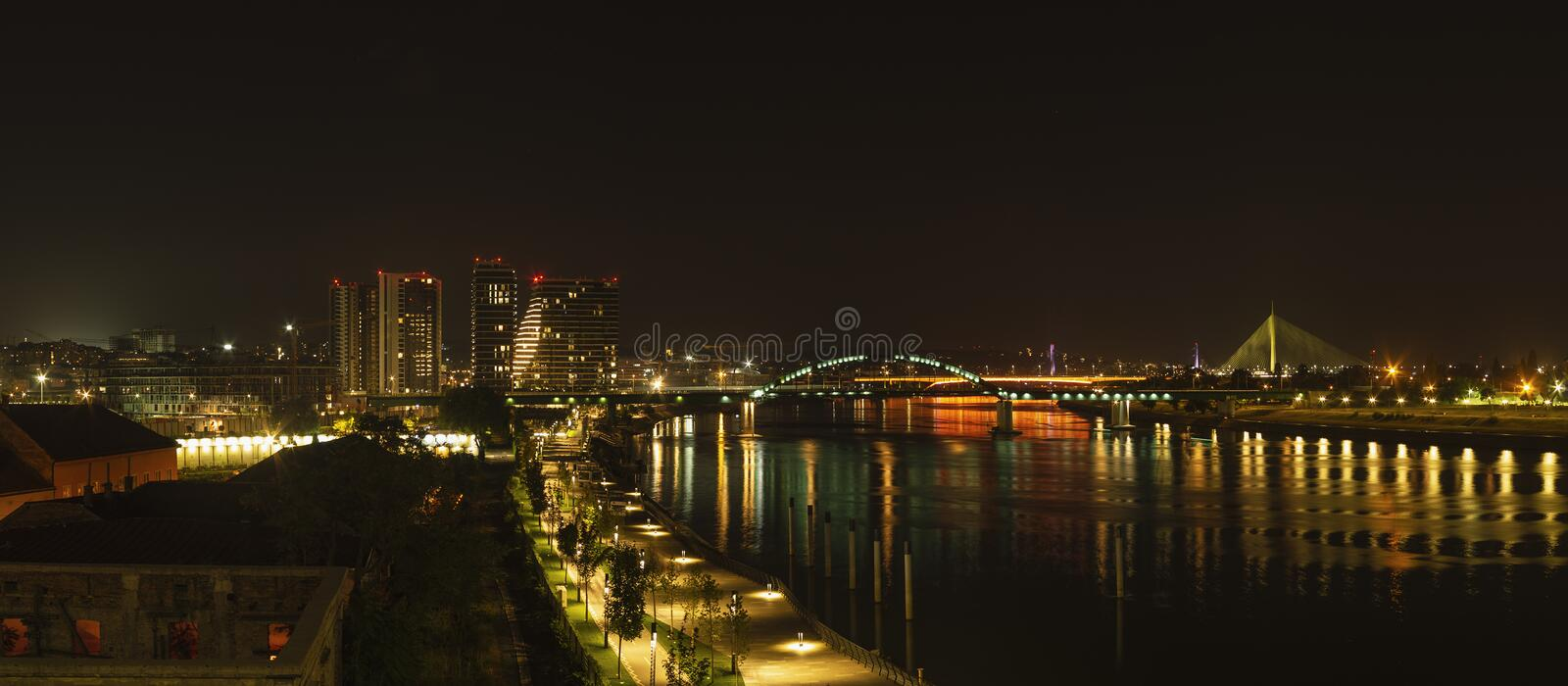 Belgrade, Serbia at night, wide panoramic view royalty free stock images