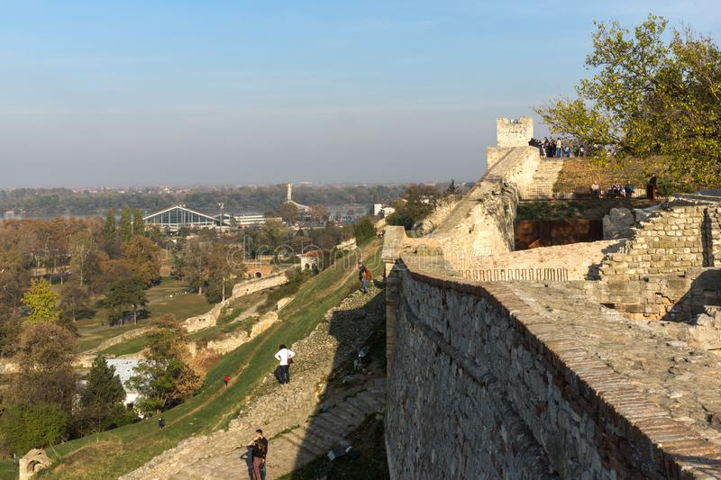 Panoramic sunset view of Belgrade Fortress, Kalemegdan Park, Sava and Danube Rivers in city royalty free stock images