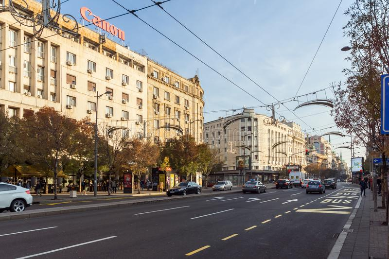 Typical Building and street in the center of city of Belgrade, Serbia. BELGRADE, SERBIA - NOVEMBER 10, 2018: Typical Building and street in the center of city of stock images