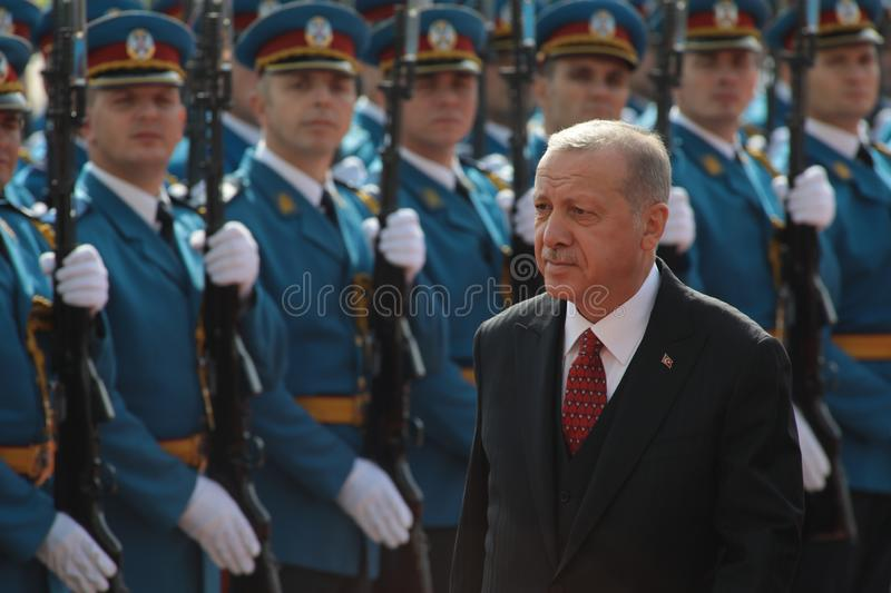 BELGRADE, SERBIA - 7 October 2019: Turkish President Recep Tayyip Erdogan inspects the honour guard in Belgrade. Serbia, 07 royalty free stock images