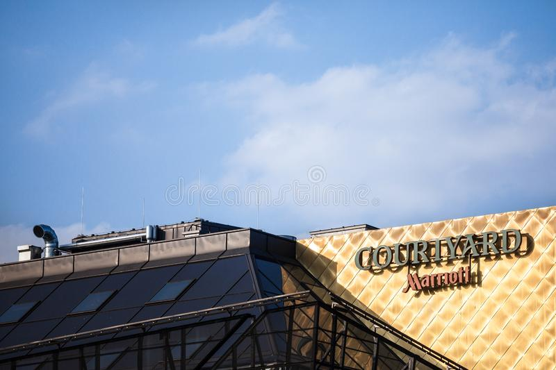 Courtyard Marriott logo on their main hotel in Serbia. Courtyard Marriott Corporation is a worldwide brand, owner luxury hotels royalty free stock photography