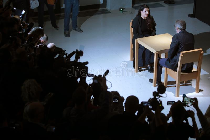 Belgrade, Serbia - September 21. 2019, - Marina Abramovic at a retrospective exhibition called The cleaner at the Museum of. Image royalty free stock photos