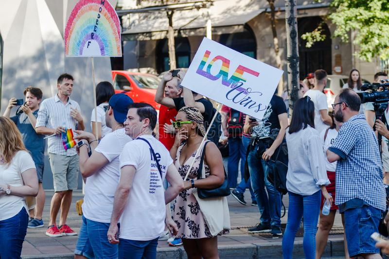Belgrade, Serbia-September 15,2019: People celebrating at the  pride parade 2019 royalty free stock images