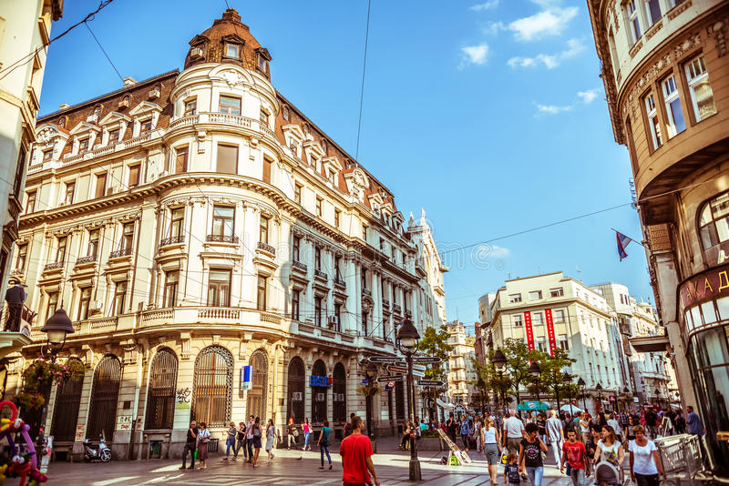 BELGRADE, SERBIA - SEPTEMBER 23: People walking on Knez Mihajlova. Most famous shopping thoroughfare and one of the favorite tourist destinations in Belgrade royalty free stock images