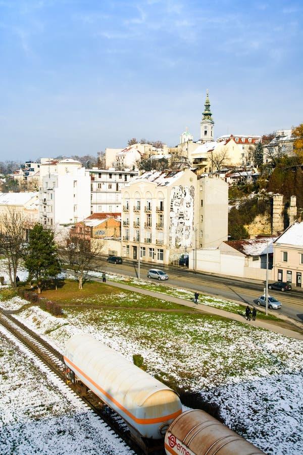 BELGRADE, SERBIE - 4 DÉCEMBRE 2017 : Scène d'hiver de Belgrade avec images libres de droits