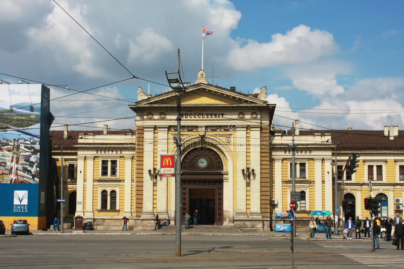BELGRADE, SERBIE - façade avant du bâtiment de gare ferroviaire de Belgrade-Glavna images libres de droits