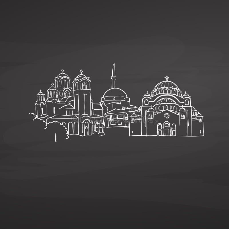 Belgrade Serbie se connecte le tableau noir illustration de vecteur