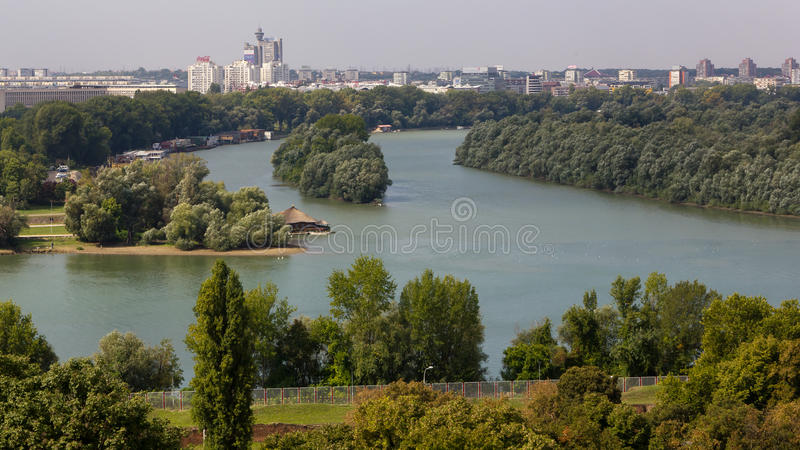 Belgrade sikt från Kalemegdan arkivbilder