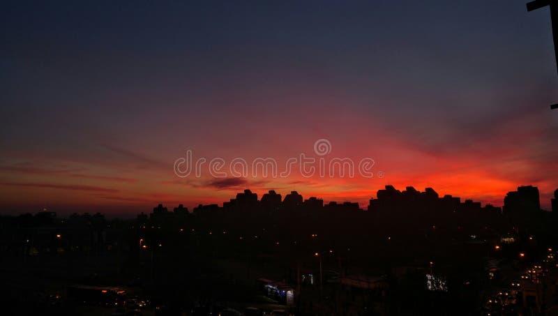 Belgrade solnedgång arkivbilder