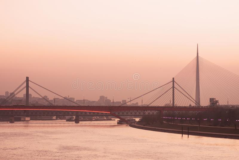 Belgrade stadscityscape royaltyfri fotografi