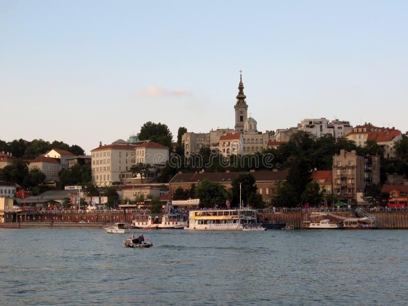 Belgrade stadssikt från de flodSava skeppsdockorna royaltyfri fotografi