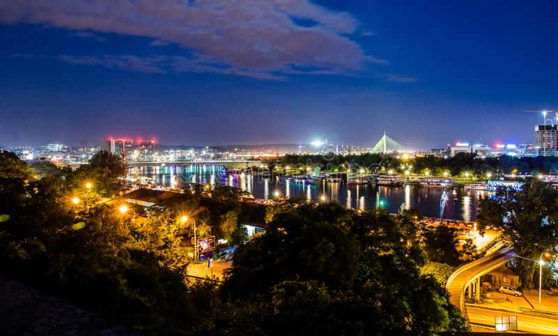 Belgrade View at Night. Summer night royalty free stock photo