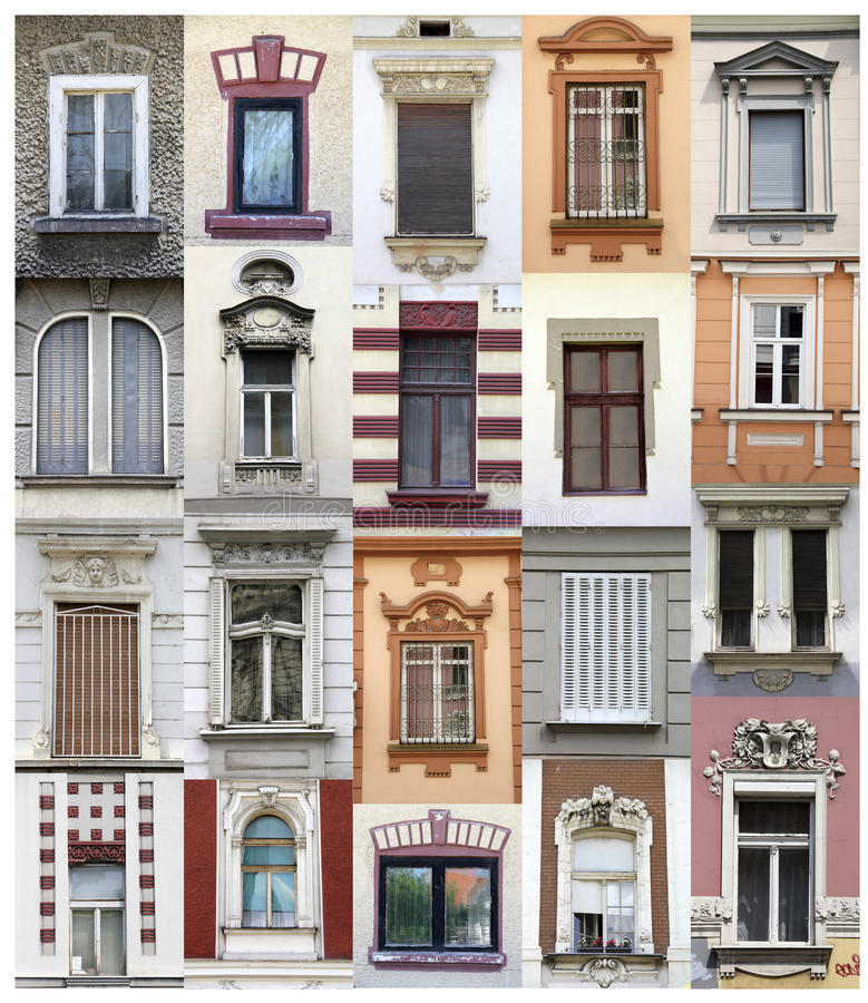 Belgrade windows. Collage made of windows from Belgrade, Serbia royalty free stock photography