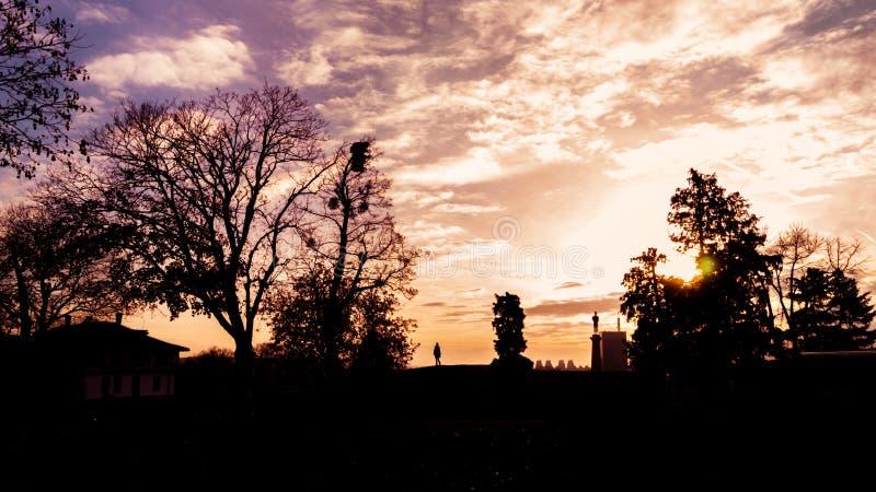 Belgrado bij zonsondergang stock fotografie