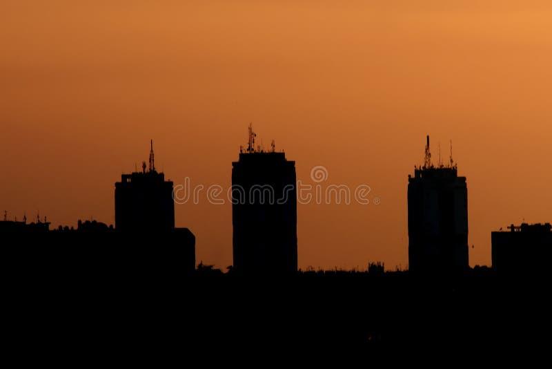 Belgrado bij zonsondergang royalty-vrije stock foto's