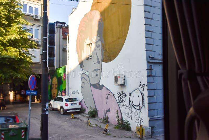 Belgrado, Novi Sad/Sérvia - 06 05 2019: Arte da rua de Seria fotos de stock