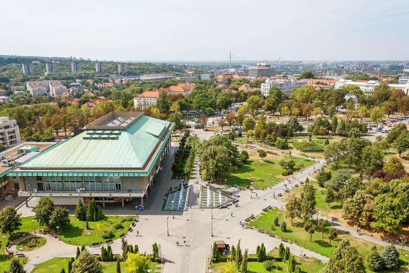 Belgrado, Sérvia 11/09/2017: biblioteca nacional de Belgrado imagens de stock