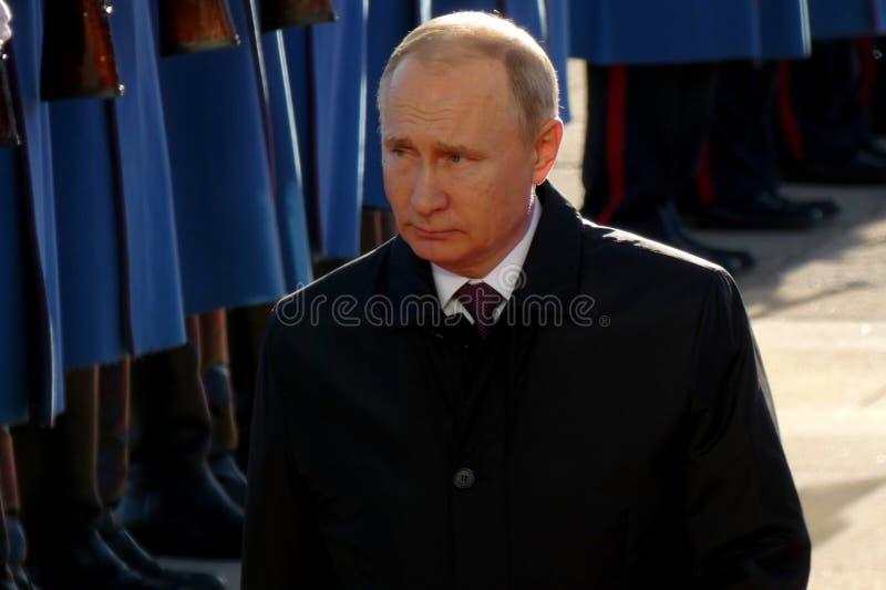 Belgrado, Serbia 17 de enero de 2019 Presidente de la Federación Rusa, Vladimir Putin en visita oficial a Belgrado, Serbia fotos de archivo libres de regalías