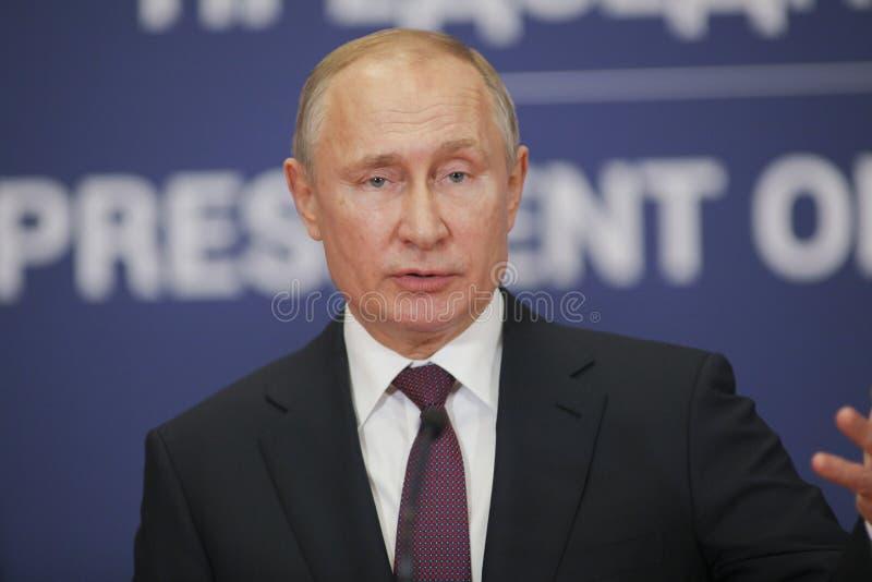 Belgrado, Serbia - 17 de enero de 2019: Vladimir Putin, el presidente de la Federación Rusa en rueda de prensa en el palacio de S fotografía de archivo libre de regalías