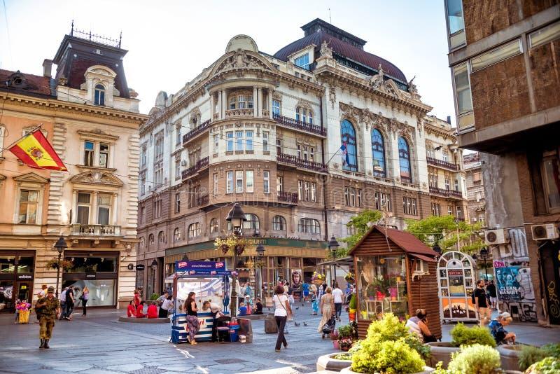 BELGRADO, SERBIA - 23 DE SEPTIEMBRE DE 2015: Calle de Knez Mihailova o foto de archivo libre de regalías