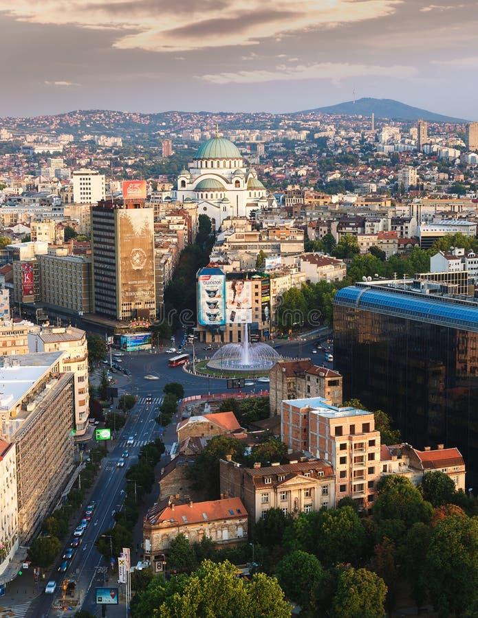 Belgrado, Serbia, il 22 luglio 2017 Vista aerea di Belgrado fotografia stock