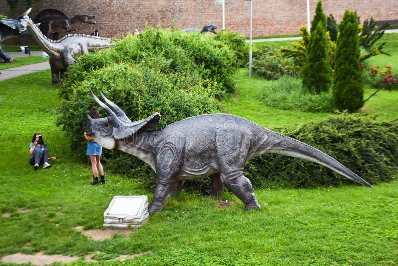 Belgrado/Servië-06 05 2019: Kalemegdan/Dino Park Jura Avantura royalty-vrije stock fotografie